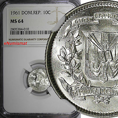 Dominican Republic Silver 1961 10 Centavos NGC MS64 Last Year Type GEM BU KM# 19