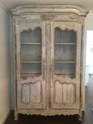 18th Century French Country Armoire China Cabinet Original Whitewash Finish
