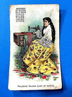 """Singer Sewing MachineManufacturing  Co.  """"Philippine Islands"""" Trade Card"""