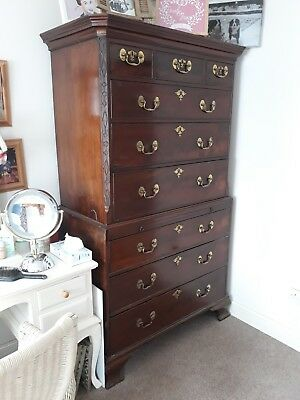 Antique Georgian Mahogany Chest On Chest Drawers Superb Fine Quality