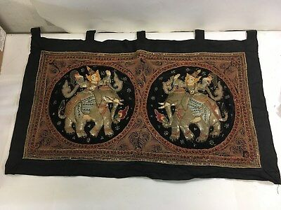 Lg Antique Asian Vintage Burmese KALAGA Tapestry Wall Hanging Embroidery (C47)
