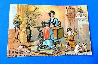 """""""Household Sewing Machine Co"""" Providence, Rhode Island Trade Card"""