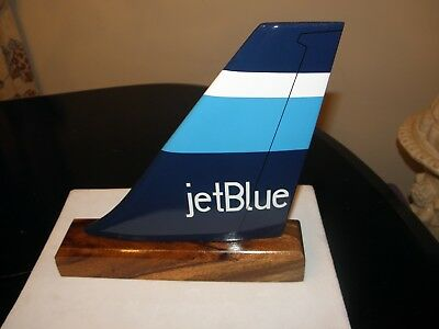 Jet Blue Airline Wood Desk Model Airplane Tail Pilot Fathers Day Collectible New