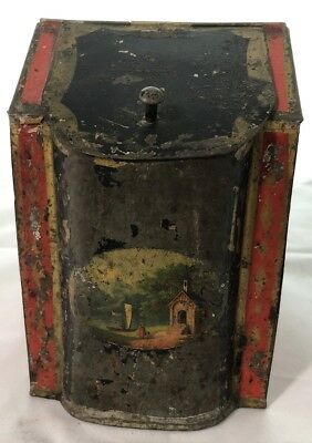Antique Paint Decorated Advertising Tin
