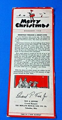 1938 Christmas Ink Blotter From Tice & Jeffers Midland Mutual Life Columbus,