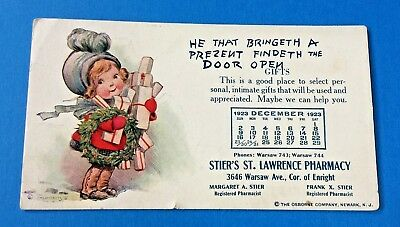 1923 Christmas Ink Blotter from Stier's St. Lawrence Pharmacy
