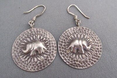 Vintage Nf Sterling Pitted Round Raised Relief Elephant Shield Pierced Earrings