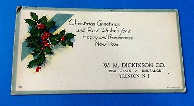 Christmas Holly Ink Blotter from W.M. Dickinson Co. Trenton, New Jersey