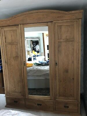 antique furniture Triple Sold Wardrobe Two Hanging Areas One Shelved, Three Draw