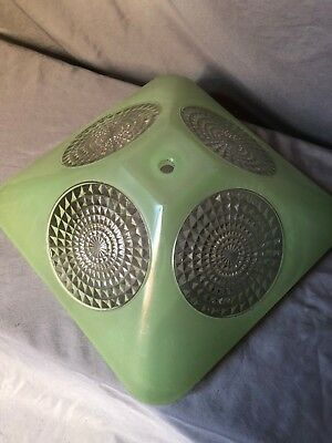 Vintage Ornate Jadeite Green & Clear Heavy Glass Light Ceiling Shade 1 hole Deco