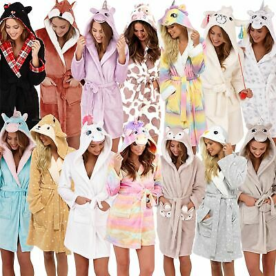 Womens Fleece Robe Ladies Girls Dressing Gown With Novelty Hood Size 8-22