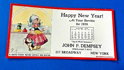 1938 Happy New Year Ink Blotter from John F. Dempsey Insurance New York, N.Y.