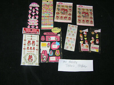 Sanrio MY MELODY Sticker Tatoo Lot Vintage 9 Packages