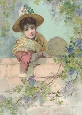 LG Victorian Tradecard LION Coffee Woolson Spice Co's COPR 1891 Girl Garden Wall