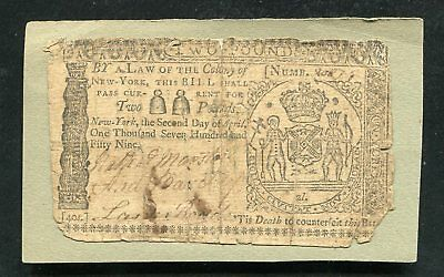 NY-155 APRIL 2, 1759 2p TWO POUNDS NEW YORK COLONIAL CURRENCY NOTE