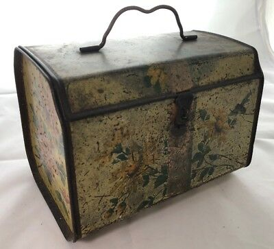 Antique Toleware Paint Decorated Tea Caddy