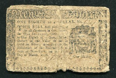 Ny-185 March 5, 1776 $1/8 One Eighth Dollar New York Colonial Currency Note