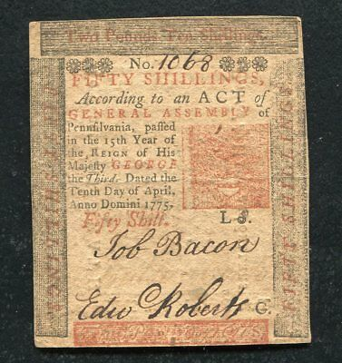 PA-175 APRIL 10, 1775 50sFIFTY SHILLINGS PENNSYLVANIA COLONIAL CURRENCY NOTE (B)