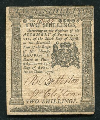 PA-203 APRIL 25, 1776 2s TWO SHILLINGS PENNSYLVANIA COLONIAL CURRENCY NOTE