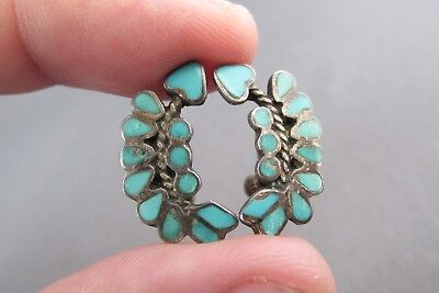 Vintage Old Pawn Sterling Curve Turquoise Inlay Arrow Screwback Earrings