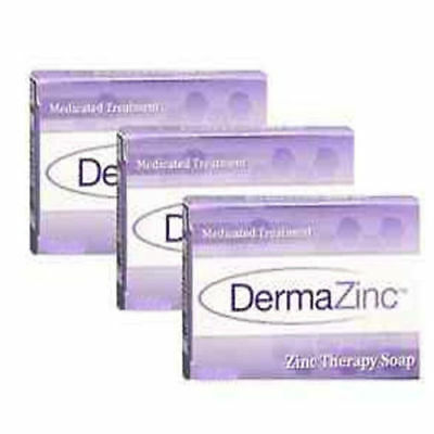 DermaZinc - Medicated Therapy Soap NEW LARGER SIZE 4.25oz (120gm) 3 PACK