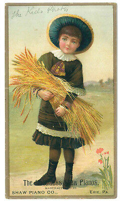 1890s ad card Shaw Piano Co E W Fosnot dealer Lewistown Mifflin County PA