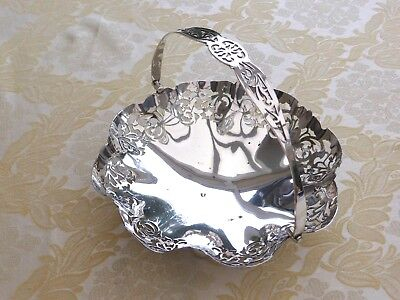 Art Deco Silver Plated Footed & Pierced Fruit Basket With Handle  1390617/622