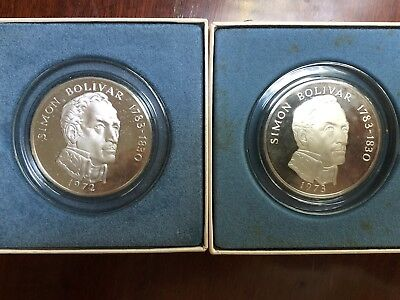 2 - Panama 20 balboa silver coins -Each Contain  2000 Grains Of Sterling Silver