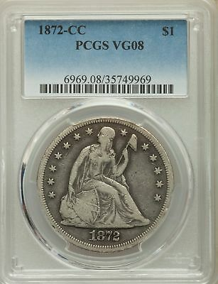 1872-CC US Seated Liberty Silver Dollar $1 - PCGS VG8