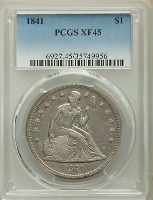 1841 US Seated Liberty Silver Dollar $1 - PCGS XF45
