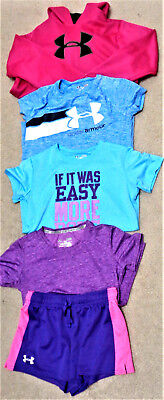 UNDER ARMOUR Youth Girls Mixed Lot Shirts Shorts Hoodie HEAT GEAR Size YLG