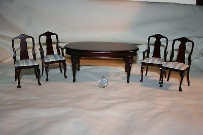 Miniature Dollhouse Vintage Mahogany Dining Room Oval Table 4 Chairs 1:12 NR