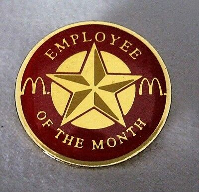 Vintage McDonald's Employee of the Month Pin Red Circle Star Golden Arches