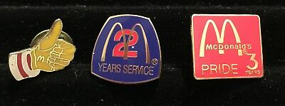 McDonald's Vintage:1, 2, & 3 year pins--two in original boxes from the 1990's