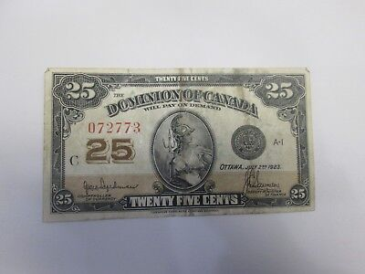 1923 Dominion Of Canada 25 Cents Currency Note