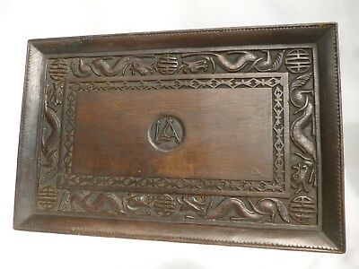Kashmir India Carved wooden tray