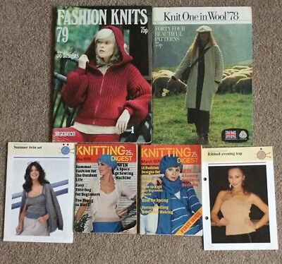 LOT OF OVER 100 1970's VINTAGE KNITTING PATTERNS IN BOOKLETS, MAGAZINES PATTERNS