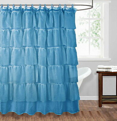 1Pc Navy Solid Ruffle Gypsy Bathroom Bath Shower Curtain Layered Voile Sheer