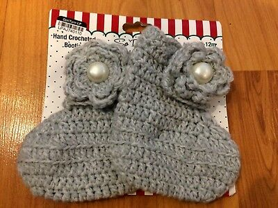 B88 NEW So'Dorable Baby Girl 6-12M hand Crochet Sweater Knit Booties GRAY