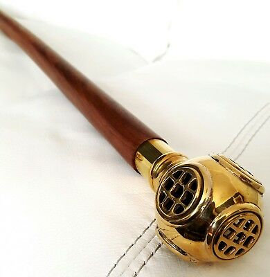 001 Diving Helmet (Brown/Gold) walking stick, great gift & collectable piece