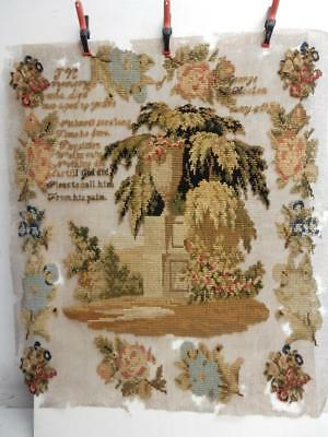 really old ANTIQUE SAMPLER GEORGE HEATON DIED 1850