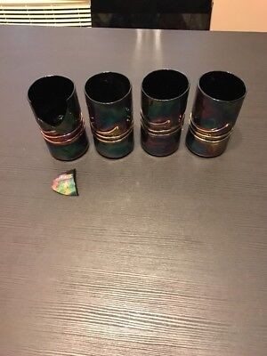 Set of 4 Carnival Glass Cups Signed (1 Cup broken) ESTEBAN PRIETO Art Glass