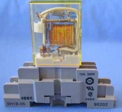 IDEC RH1B-U 120 Volt AC Coil Single Pole SPDT Relay&SH1B-05 Base New Shelf Stock