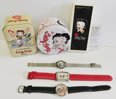 Betty Boop Watch Lot of 3 With Tin Advertising Container