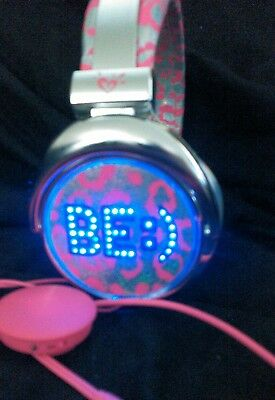 🌟 Justice 🌟 LIGHT UP Color Changing BE :) Pink Animal Print Headphones  RARE