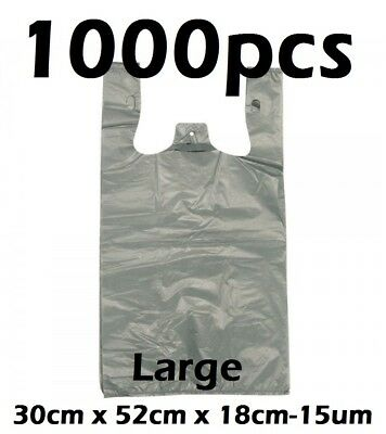 1000pcs Plastic Singlet Shopping Carry Checkout Bag Large 30cmx18cmx52cm Grey
