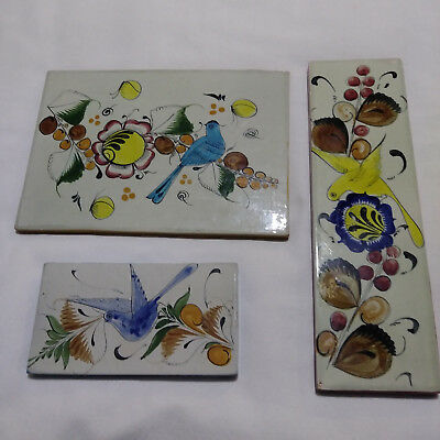 Vintage Mexican Hand Crafted Painted Ceramic Tile Set Noe Suro Mexico Folk Art