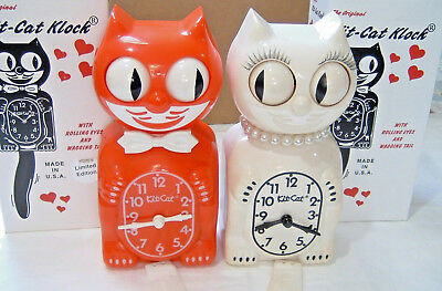 Lot of 2 Kit Cat Klock Novelty Wall Clock Both Run Rolling Eyes Wagging Tails