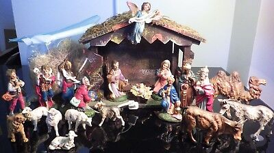 """Vintage Nativity Set Italy 20 Pc Complete with Wooden Barn Hand Painted 5"""" Scale"""