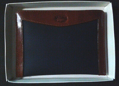 NWT in box Lacoste open wallet or small clutch in navy and brown